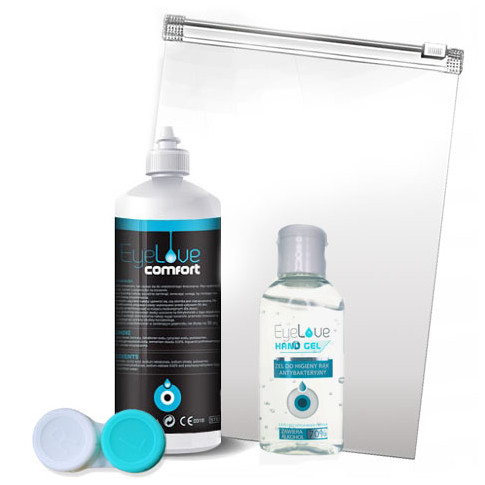TRAVEL PACK: EyeLove Comfort 100 ml + EyeLove Hand Gel + pojemnik + woreczek na suwak